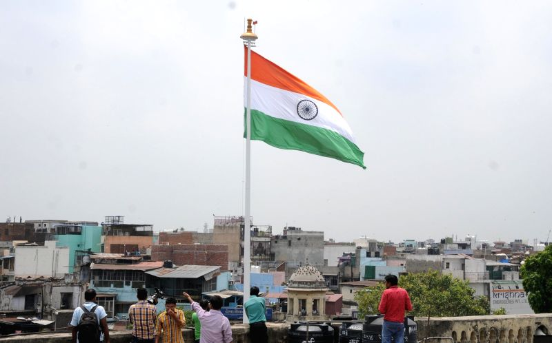 A tricolour hoisted on a 104 feet tall mast -said to be the tallest-  at Town Hall in Chandni Chowk of Delhi on Aug 9, 2016.