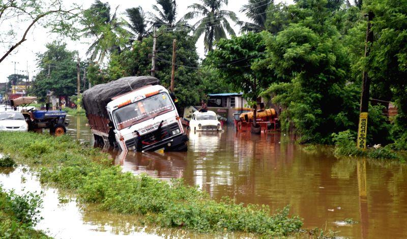 A truck stuck in floods in Bhubaneswar on Juy 21, 2018.