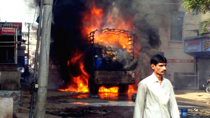 A vehicle carrying chemicals catches fire in Sangli district of Maharashtra on June 26, 2014.