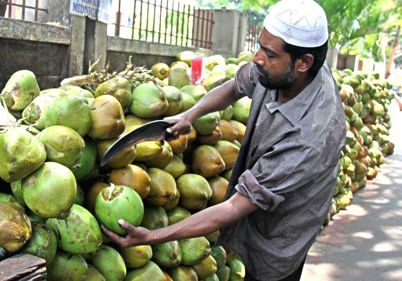 A vendor sells tender coconut water in Bengaluru, on April 18, 2017.