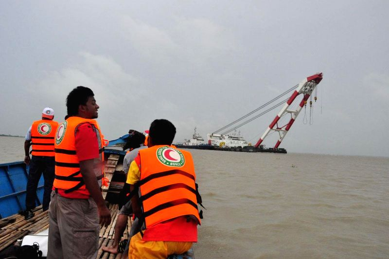 A vessel involved in rescue operations after Pinak-6 - a launch capsized  in Padma river near Mawa, Bangladesh on Monday (4th Aug, 2014); on Aug 5, 2014. The launch had 200 passengers on-board.