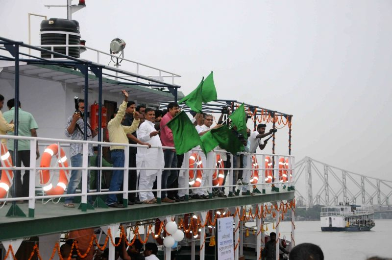 A vessel made up of robust steel being flagged off from Millennium jetty in Kolkata on June 5, 2017. West Bengal transport department as part of its river safety campaign has introduced five ...