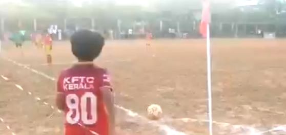 A video of a 10-year-old boy has grabbed the eyeballs all over the internet from his zero-degree corner kick. The sensational corner-kick goal done by the 10 year old kid from Kerala a social media sensation.The viral video of the goal, which was fir