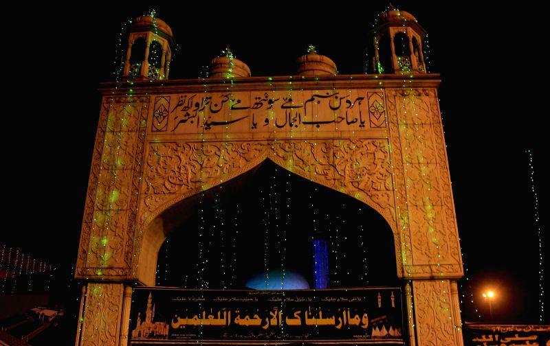 A view decorated Hazratbal Shrine ahead of Eid-miladun Nabi in Srinagar, on Jan 2, 2015.