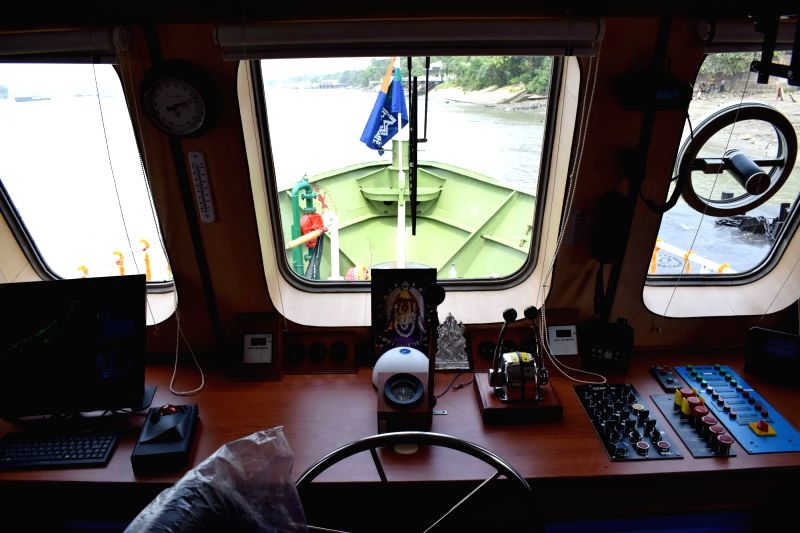 A view from the cabin of Survey cum Inspection Vessels of IWAI  at Garden Reach in Kolkata on June 1, 2017.