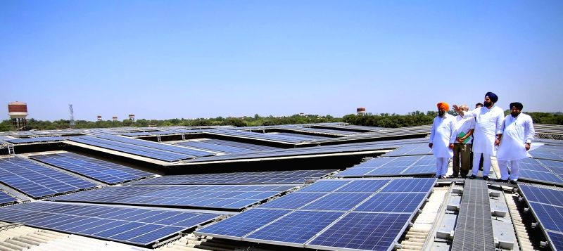 A view of 11.5 MW rooftop solar energy plant at the Radha Soami sect headquarters in Beas near Amritsar. (File Photo: IANS)