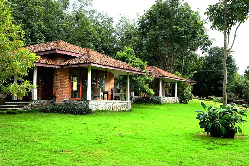 A view of 20-acre Anantya Resort situated on a peninsula overlooking the clear blue Chittar Lake and forms a part of the larger rubber plantation of Vaikundam Estate on the foothills of the Western ..