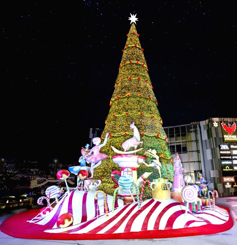 A view of 75 feet tall Christmas Tree which was unveiled at Phoenix Marketcity ahead of Christmas, in Bengaluru.