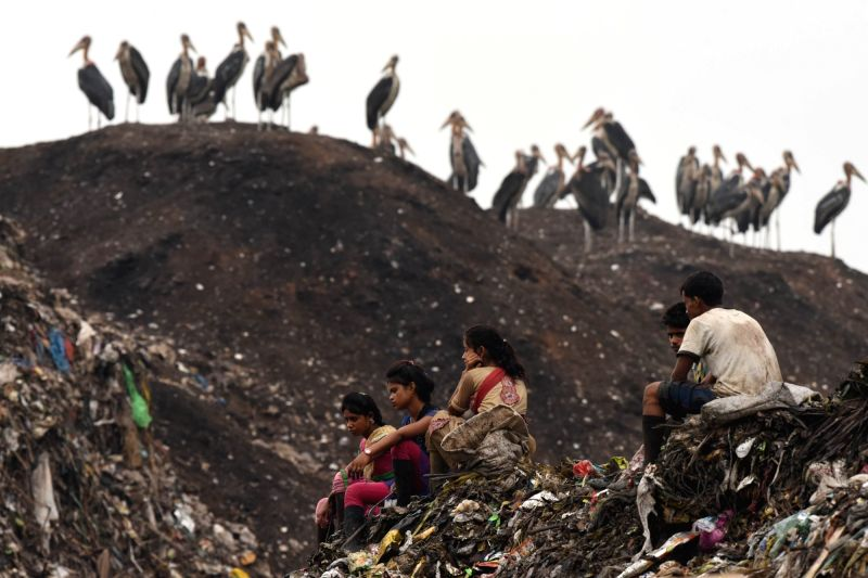 A view of a dumping ground on the eve of World Environment Day in Guwahati on June 4, 2017.