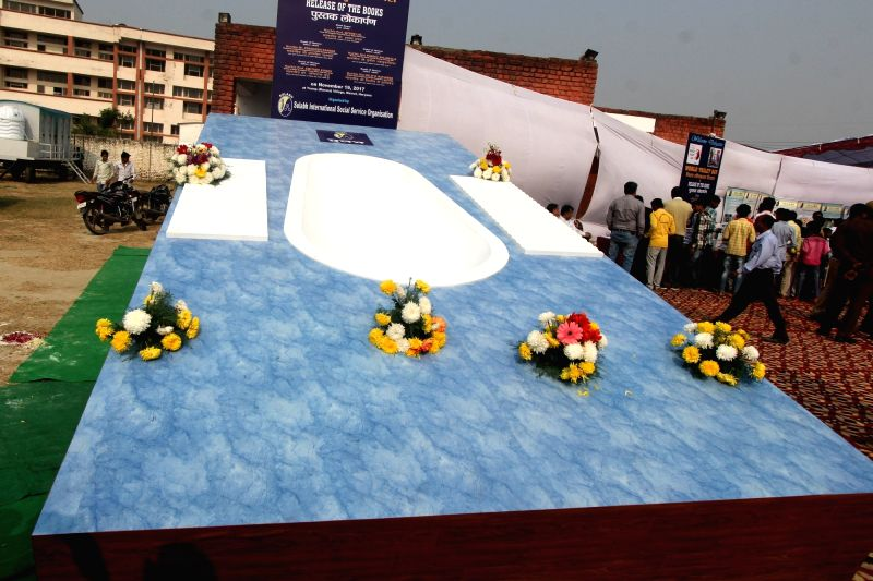 A view of a large squatting toilet bowl unveiled by Sulabh International Social Service Organization on World Toilet Day at Trump village of the Nuh District in Haryana on Nov 19, 2017.
