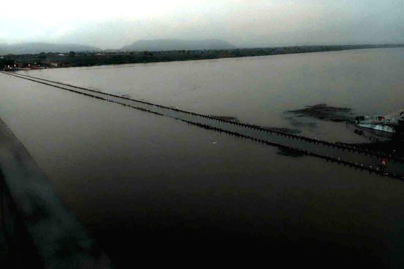 A view of a overflow Godavari river at Jagtial in Karimnagar district of Telangana on July 25, 2016.