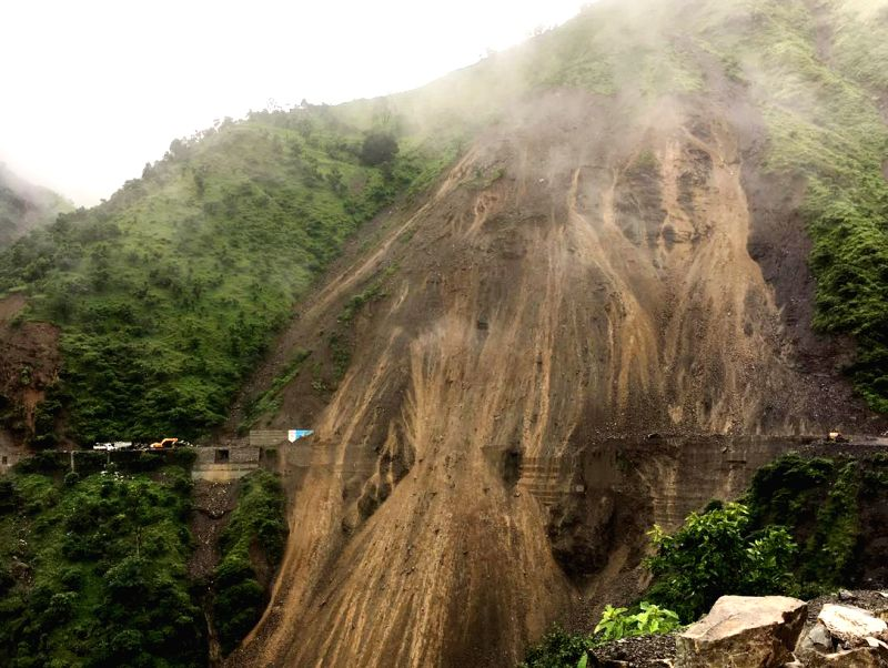 A view of a road damaged due to landslide in Chakrata of Uttarakhand on Aug 1, 2016.
