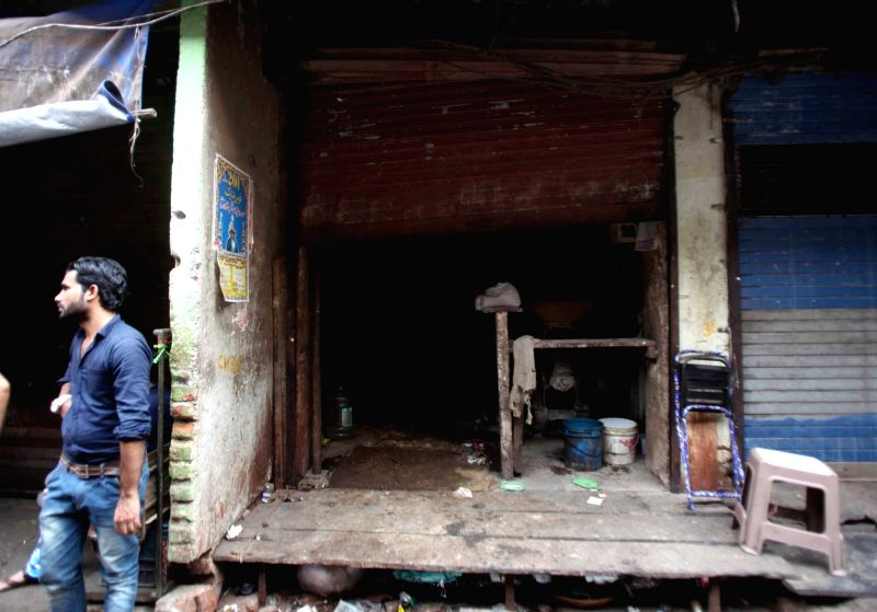 A view of a shop that was gutted in a fire at JB Shah Marg in Dongri's Mohammad Manzil of Mumbai on Jan 30, 2018. Reportedly four people were injured.