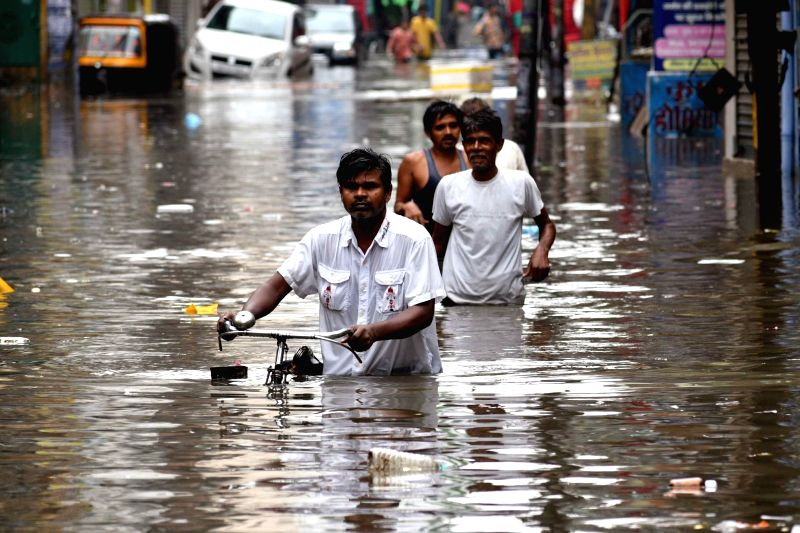 A view of a water-logged street in Dariyapur after rains lashed Patna on July 28, 2018.