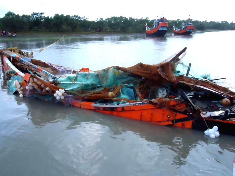 A view of a wrecked trawler that had gone missing two days ago in Kakdwip of West Bengal's South 24 Parganas on Aug 5, 2014.