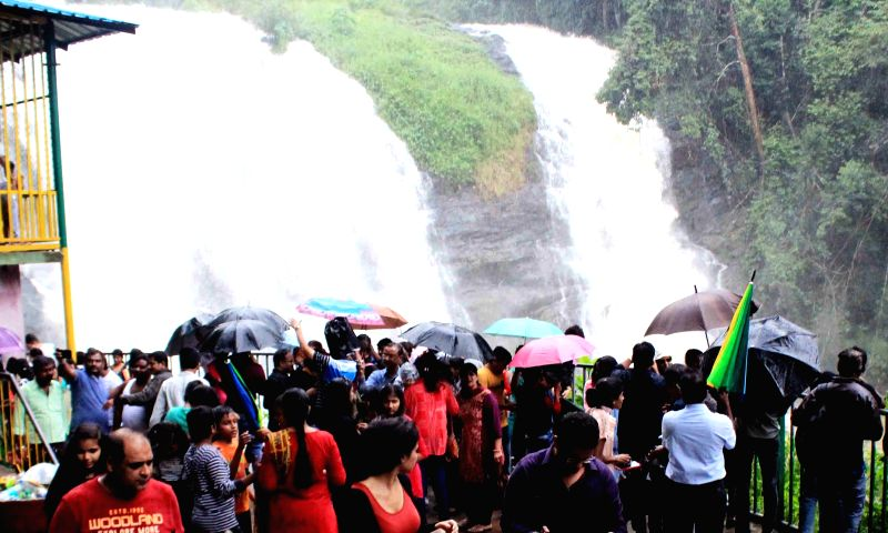 A view of Abbey Falls near Madikeri in Kodagu district on June 11, 2018.