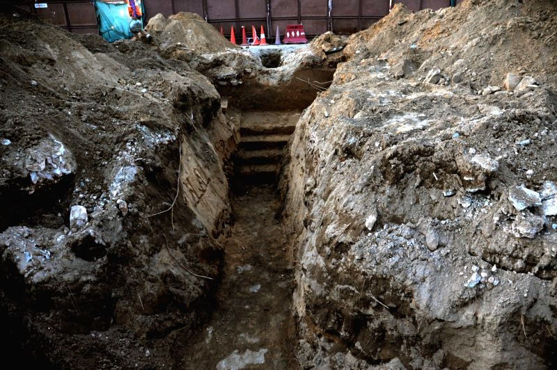 A view of an ancient passage with staircase that was discovered while work for Jaipur Metro was in progress near Choti Chopad in Jaipur.