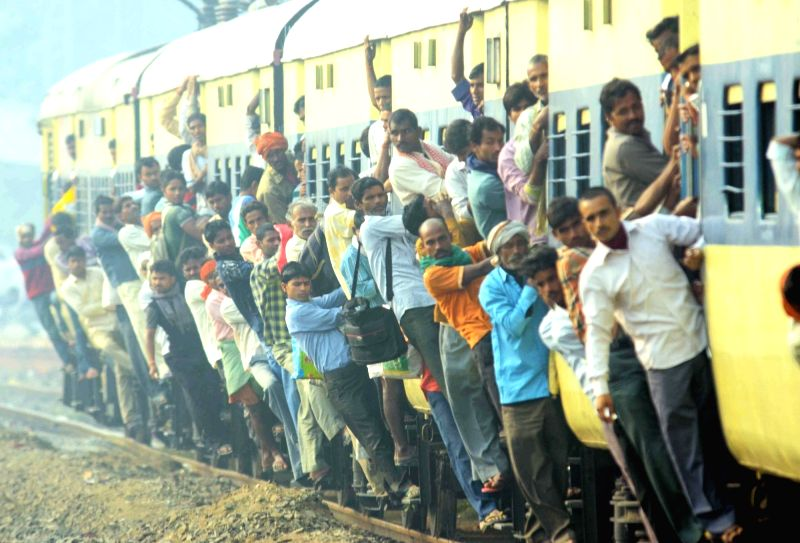 A view of an over crowded Patna-Gaya passenger train during Chhath Puja rush in Bihar on Nov 16, 2015.
