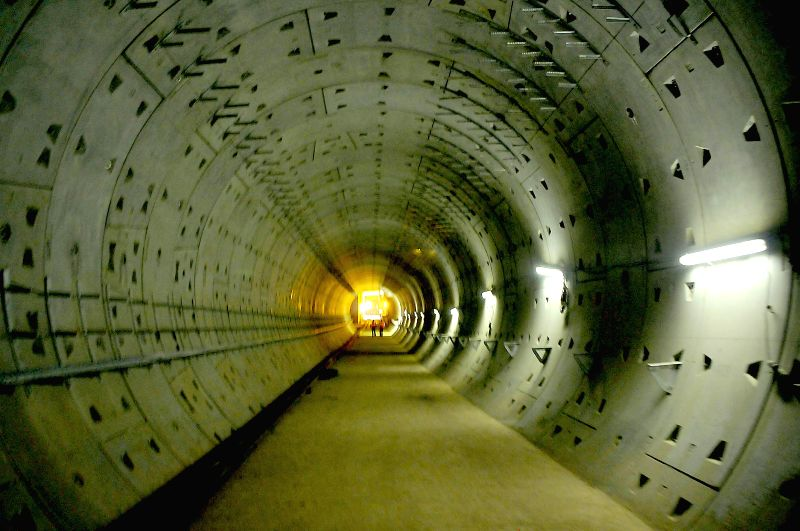 A view of an under-construction Metro tunnel at GPO in Bangalore on July 12, 2014.