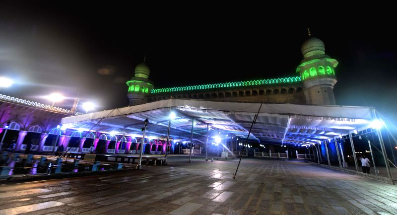 A view of beautifully decorated Mecca Masjid ahead of Ramzan in Hyderabad on June 29, 2014.