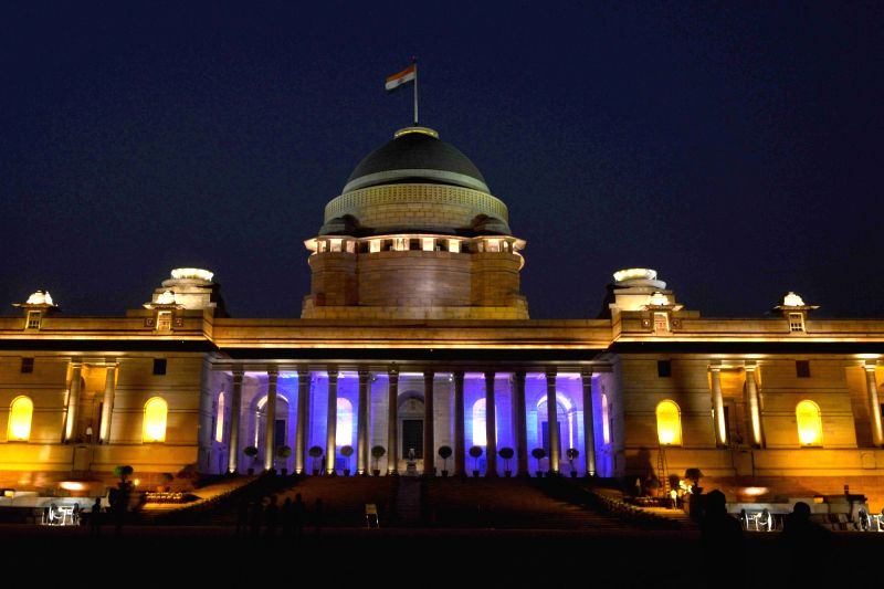 A view of beautifully illuminated Rashtrapati Bhavan on the eve of 3rd India Africa forum summit 2015 in New Delhi on Oct 28, 2015.