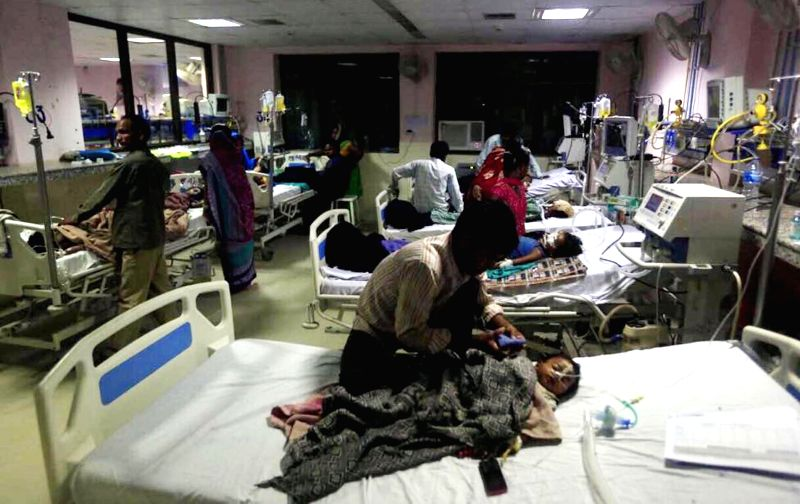 A view of children admitted at the Baba Raghav Das Medical College (BRDMC) hospital in Gorakhpur on Aug 12, 2017. 60 children died in the past five days at BRDMC hospital.