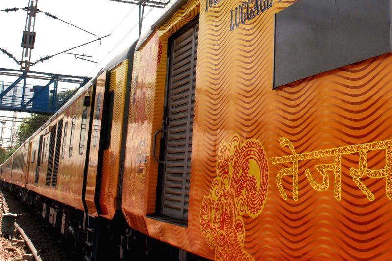 A view of country's first Tejas rake that offers enhanced passenger comfort, communications and entertainment facilities stationed at Safdarjung railway station in New Delhi on May 19, ...
