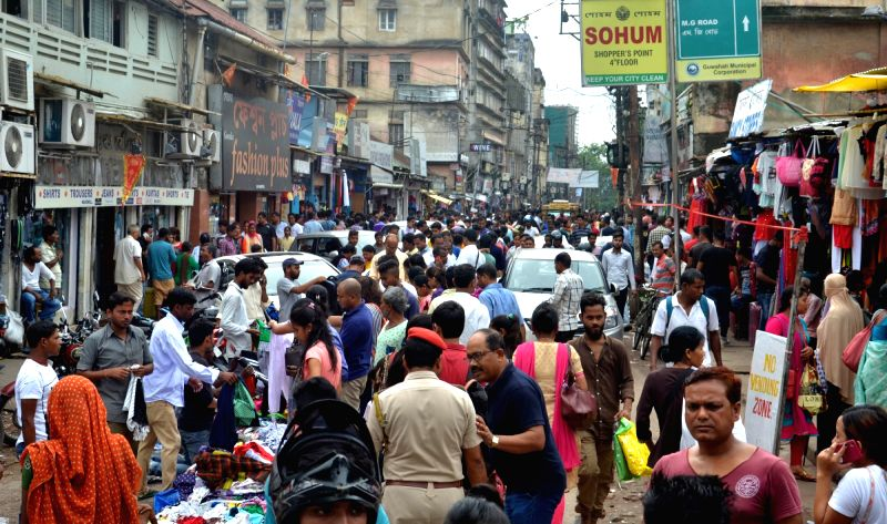 A view of crowded marketplace ahead of Eid in Guwahati, on June 15, 2018.