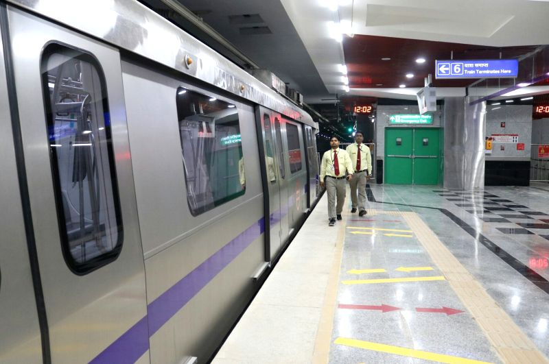 A view of Delhi Metro's 'Heritage line' in New Delhi, on May 25, 2017. This stretch of the Delhi Metro - an extension of the Violet Line (ITO-Escort Mujeser), will be operational from May ...