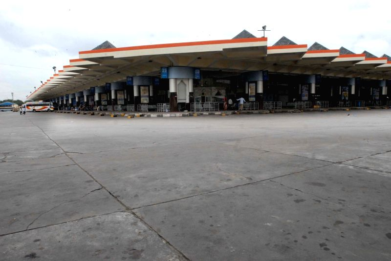 A view of deserted bus depot after All India Coordination Committee of Road Transport Workers' Organisations call strike against Motor Vehicles (Amendment) Bill, in Hyderabad, on Aug 7, ...