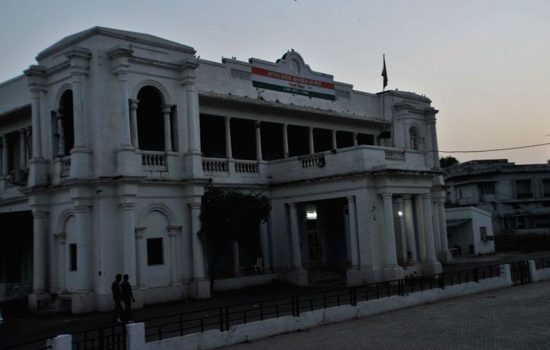 A view of deserted Congress office a day ahead of declaration of the 2014 Lok Sabha Election results which are scheduled to be declared on 16th May; in Lucknow on May 15, 2014.