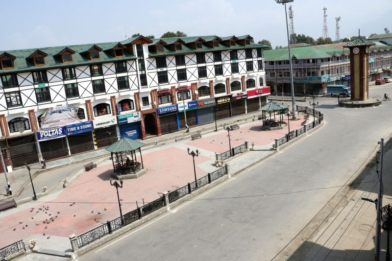 A view of deserted roads of Srinagar on the second consecutive day of protest shutdown called by Separatist conglomerate, Joint Resistance ership (JRL) to voice support for Article 35A ...