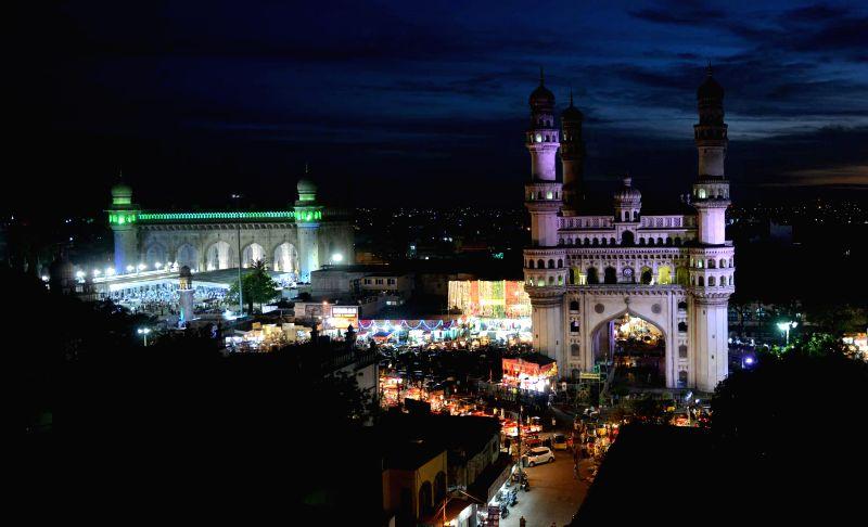 A view of Eid market near Charminar ahead of Eid-ul-Fitr in Hyderabad on July 23, 2014.