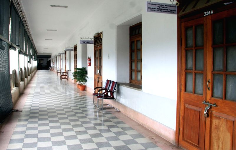 A view of empty corridors of Vidhan Soudha as the government employees go on a day long strike to fulfill their various demands, in Bengaluru on June 2, 2016.