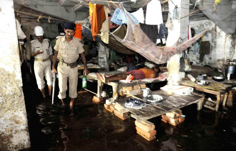 A view of flooded barracks of Kadamkuan Police station in Patna on Aug 18, 2014.