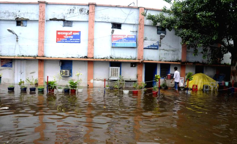 A view of flooded Kadamkuan Police station in Patna on Aug 18, 2014.