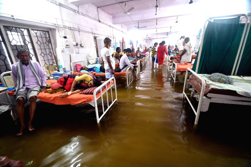 A view of flooded Nalanda Medical College Hospital in Patna on July 29, 2018.