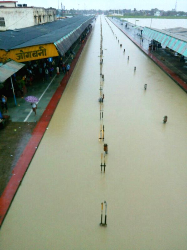 A view of flooded railway tracks at Jogbani station in Araria District of Bihar on Aug 12, 2017.