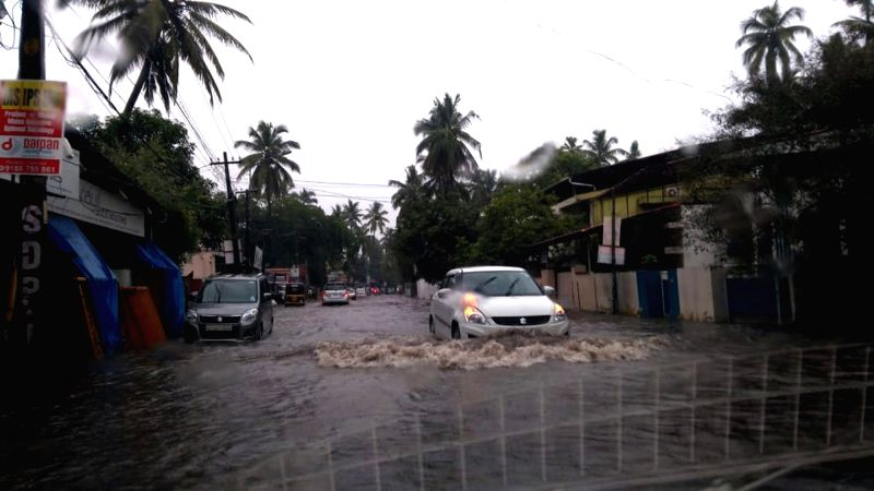 A view of flooded roads of Thiruvananthapuram after heavy rains on July 31, 2018.