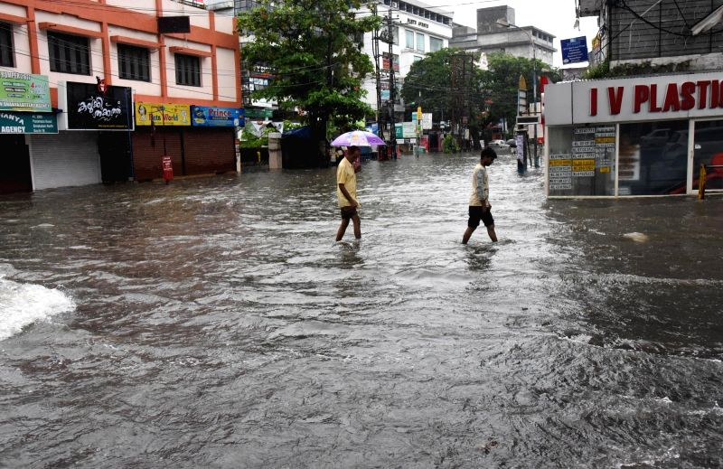 A view of flooded streets of Kochi after heavy rains lashed the city on July 16, 2018. Heavy rains pounded Kerala on Monday disrupting normal life with more rainfall predicted till Wednesday.
