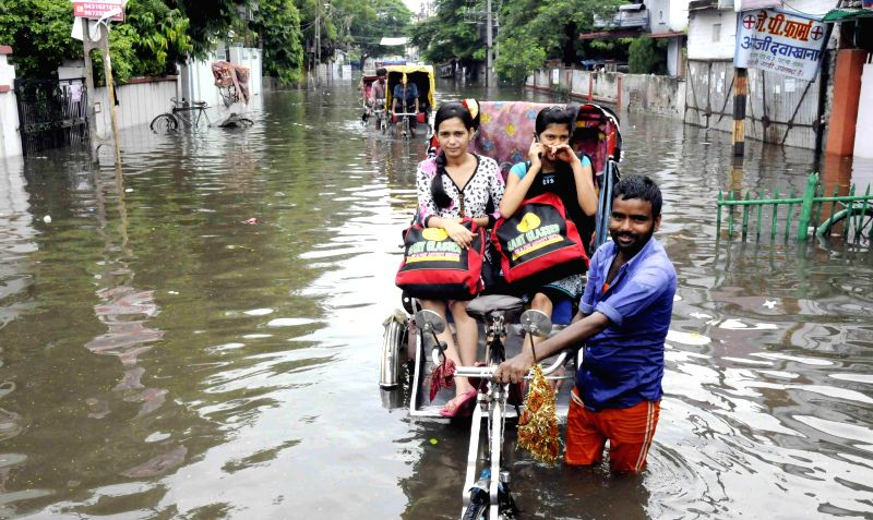 A view of flooded streets of Patna on Aug 18, 2014.