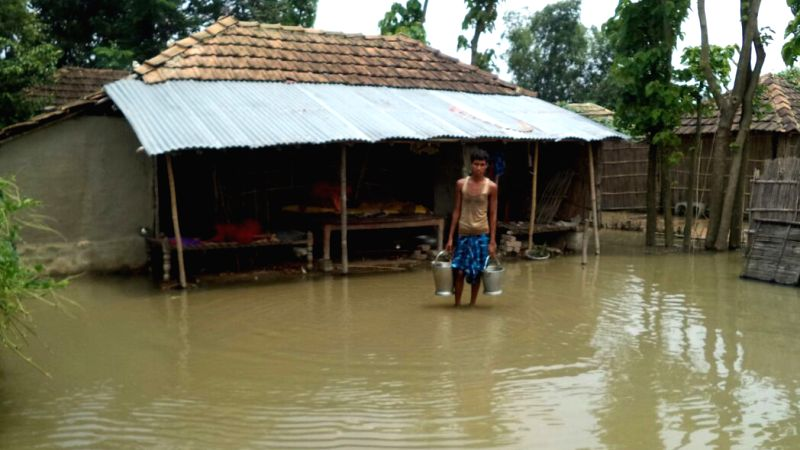 A view of flooded village in Katihar district of Bihar on July 29, 2016.