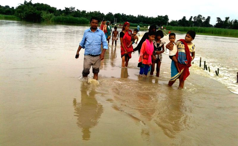 A view of flooded village in Kishanganj district of Bihar on July 22, 2016.