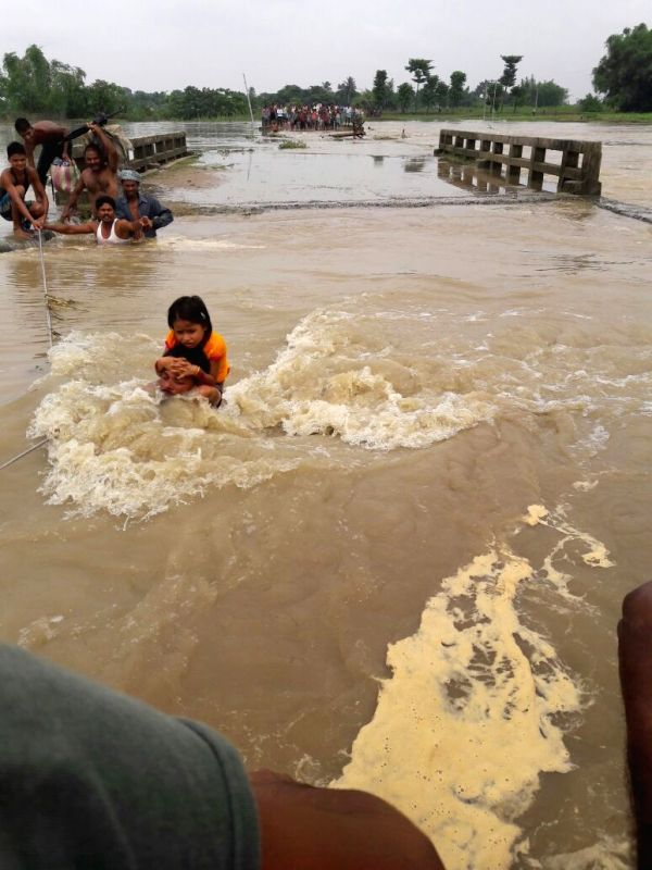 A view of flooded village in Kishanganj district of Bihar on July 24, 2016.