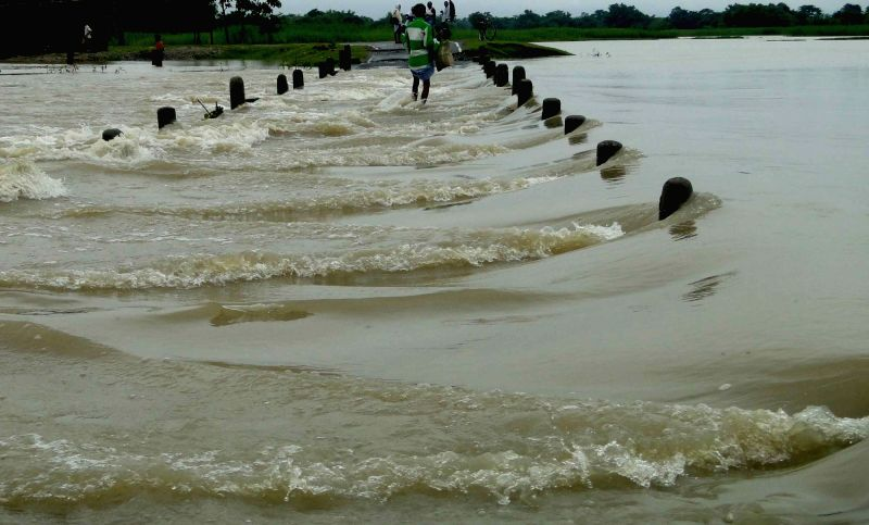 A view of flooded village in Kishanganj district of Bihar on July 27, 2016.
