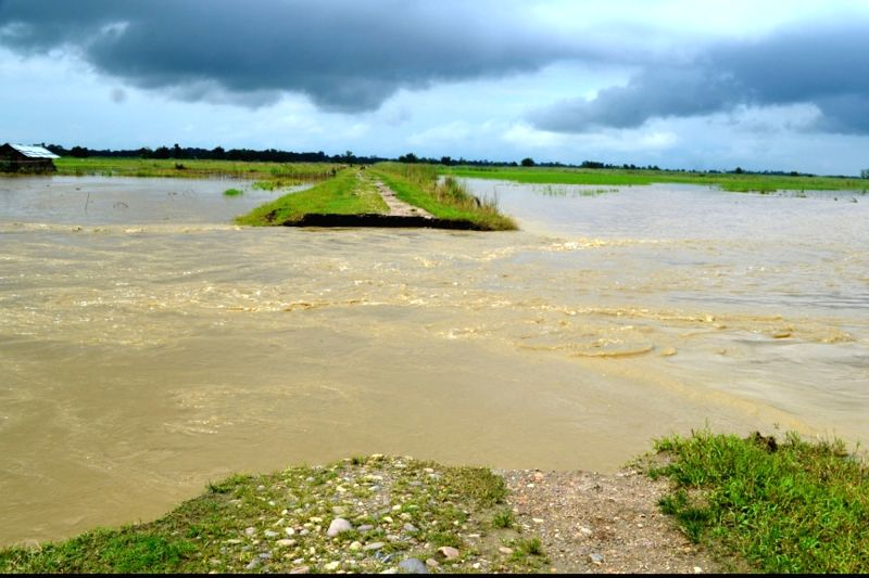 A view of flooded village in Lakhimpur district of Assam on July 13, 2016.