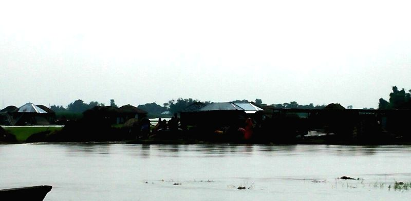 A view of flooded village in Supaul district of Bihar on July 25, 2016.
