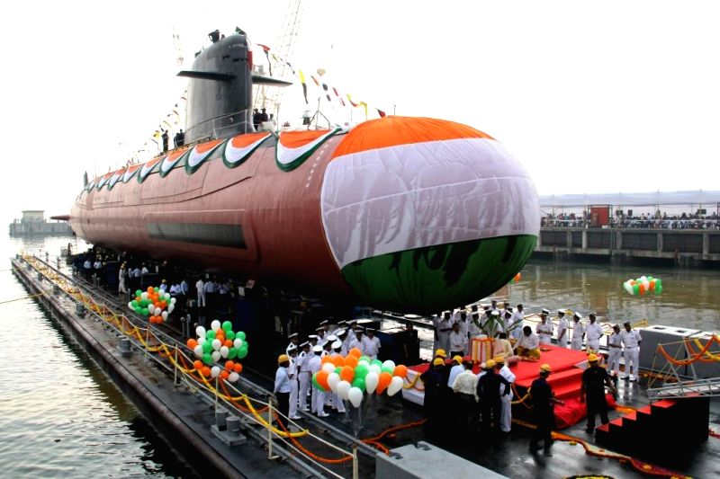 A view of INS Kalvari, the first of six Scorpene diesel-electric attack submarines (SSKs) that began its sea trials at Mazagon Dockyard Ltd (MDL) in Mumbai on Oct 29, 2015. The 66-metre-long ...
