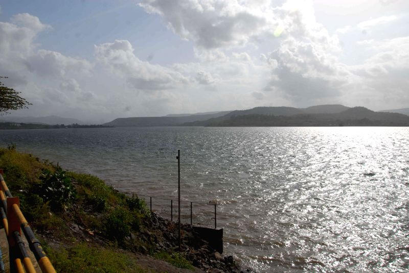 A view of Khadakwasla dam situated 20 km away from Pune where water level has gone down considerably because of delayed monsoons.