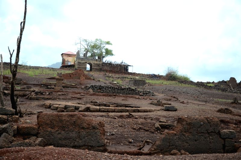 A view of Kurdi village in Quepem Taluka, some 85 kms away from Panaji that remains submerged in water for eleven months and resurfaces only one month. Around 6000 villagers were ...